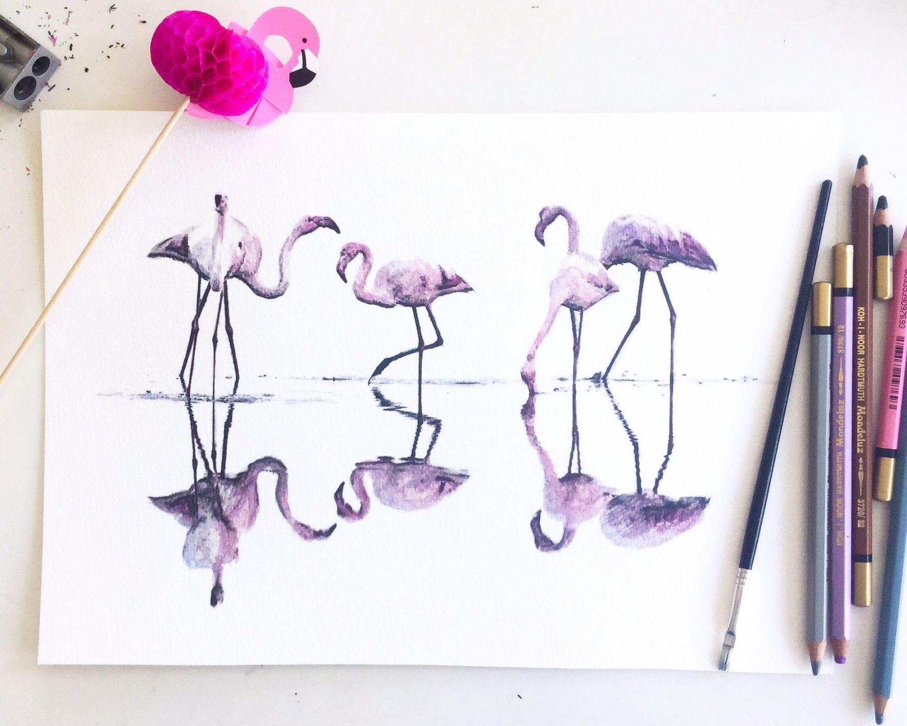 Signerat print, Flamingos 375 kr, Leonor Juhl K