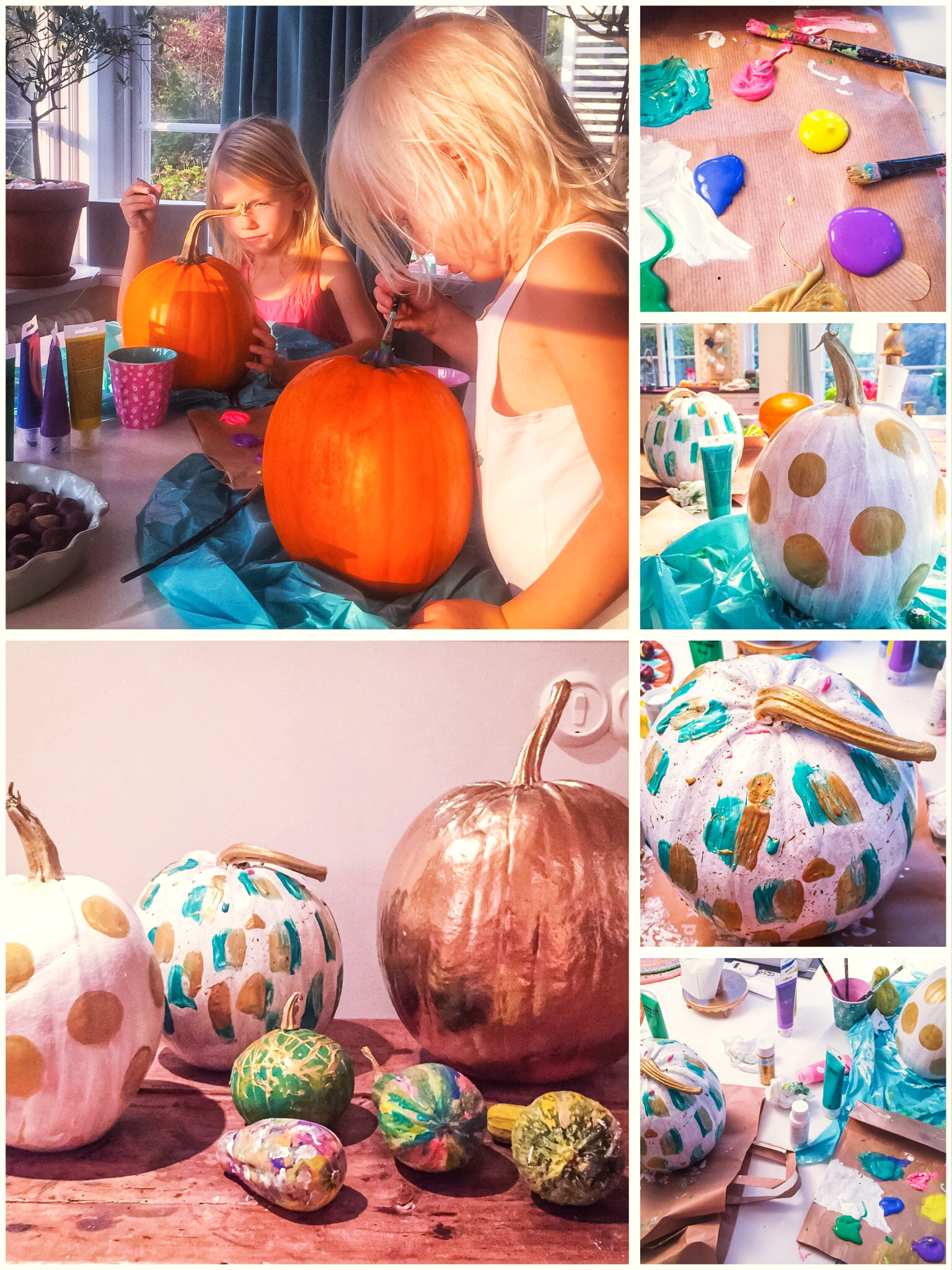 Painted pumpkins for Halloween - By Fröken Turkos/Miss Turquoise