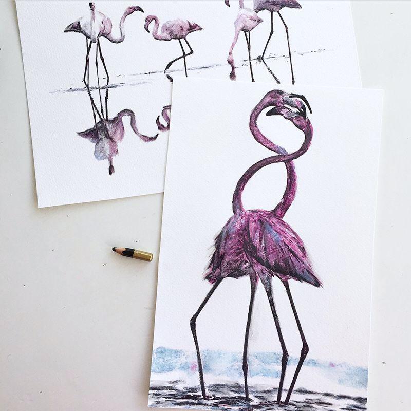 Signerat print, Flamingo love 375 kr, Leonor Juhl K